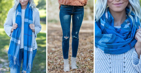 classic blue scarf and jeans