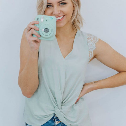 mint blue spring top