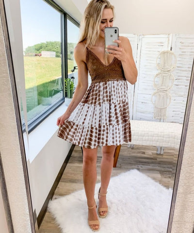 brown tie dye summer dress