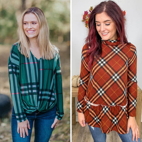 trendy plaid tops