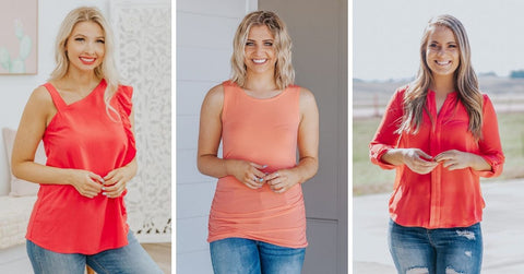 women's coral spring tops
