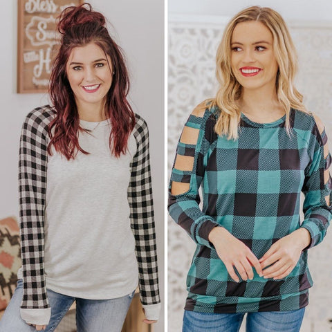 plaid light sweaters