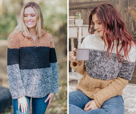 neutral striped sherpa sweaters