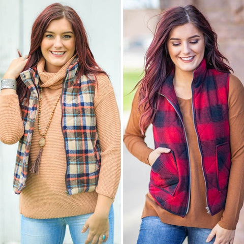plaid vests for women