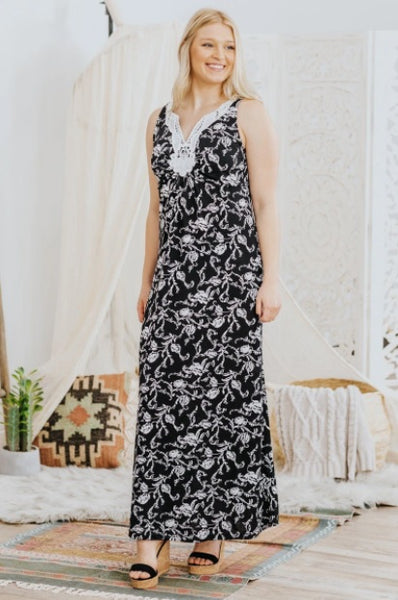 BE THE TESTAMENT FLORAL EMBROIDERED NECKLINE SLEEVELESS MAXI DRESS IN BLACK