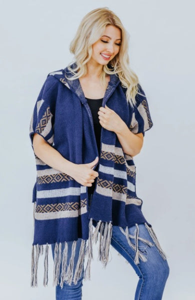 BLOW ME ONE LAST KISS TRIBAL DETAIL CARDIGAN WITH HOODIE IN NAVY