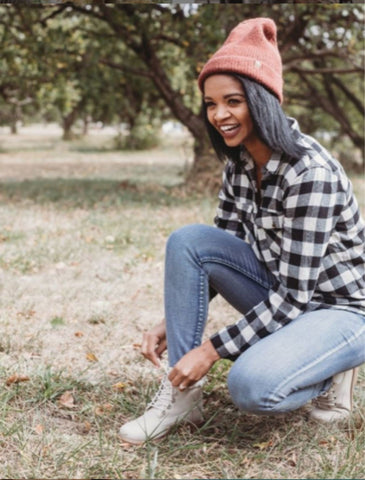 Beanie with Flannel and Jeans