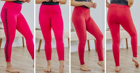 red stretch fitness leggings