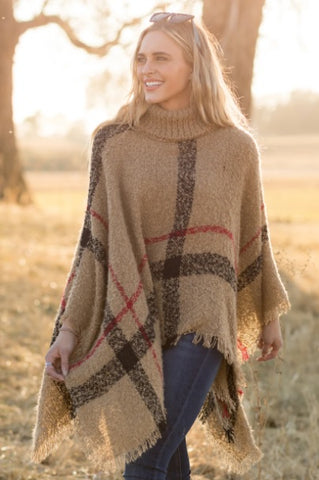 GRAVEL ROAD HOME STRETCH PLAID COWL NECK PONCHO IN TAUPE