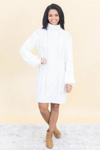 I BELONG, YOU BE LONG, WE BELONG CABLE KNIT SWEATER DRESS IN IVORY
