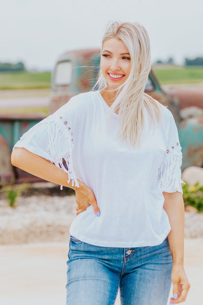 LOVE LIFE STUD DETAIL ON SLEEVE'S SHORT SLEEVE TOP IN WHITE