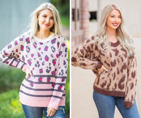 chunky leopard print sweater