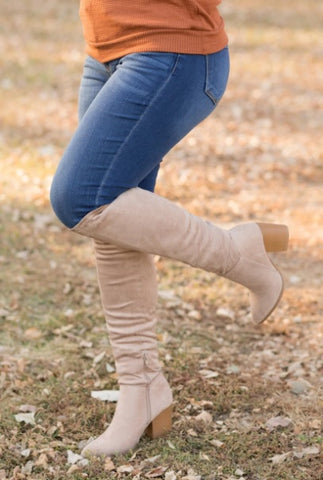 MAKE ME BRAVE POINTED TOE AT THE KNEE BOOT IN TAUPE