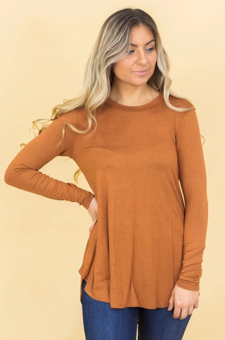 NEW DAY LONG SLEEVE TOP IN HAZELNUT
