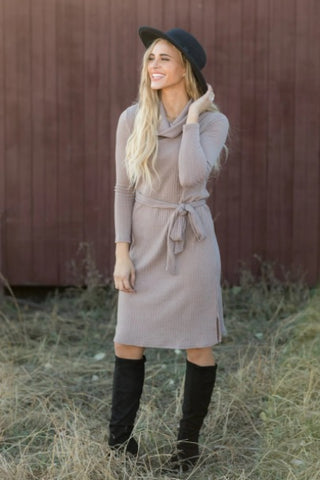 ONE THING YOU SHOULD KNOW COWL NECK LONG SLEEVE DRESS IN MOCHA