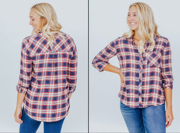 CASUAL AUTUMN PLAID TOP IN RED AND DENIM BLUE