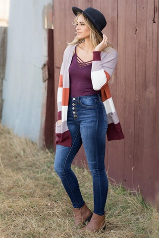 STRIPED CARDIGAN IN LAVENDER AND ORANGE