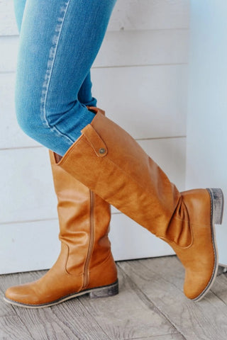TAKING CHARGE TALL BOOTS IN TAN