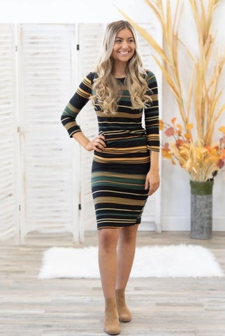 TOP OF THE MORNING STRIPED DRESS IN BLACK AND GREEN
