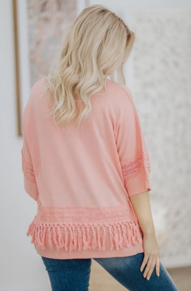 YOU MAKE ME HAPPY LACE TASSEL DETAIL SHORT SLEEVE TOP IN PINK