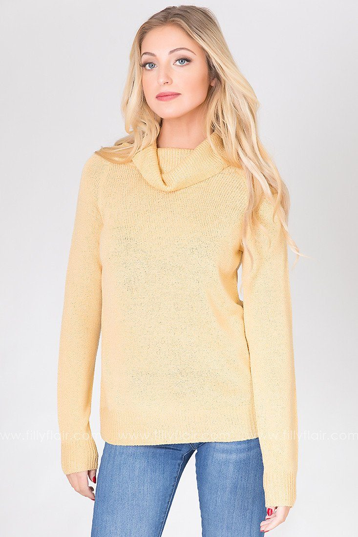 Butter Cup Ribbed Turtleneck Top in Primrose Yellow