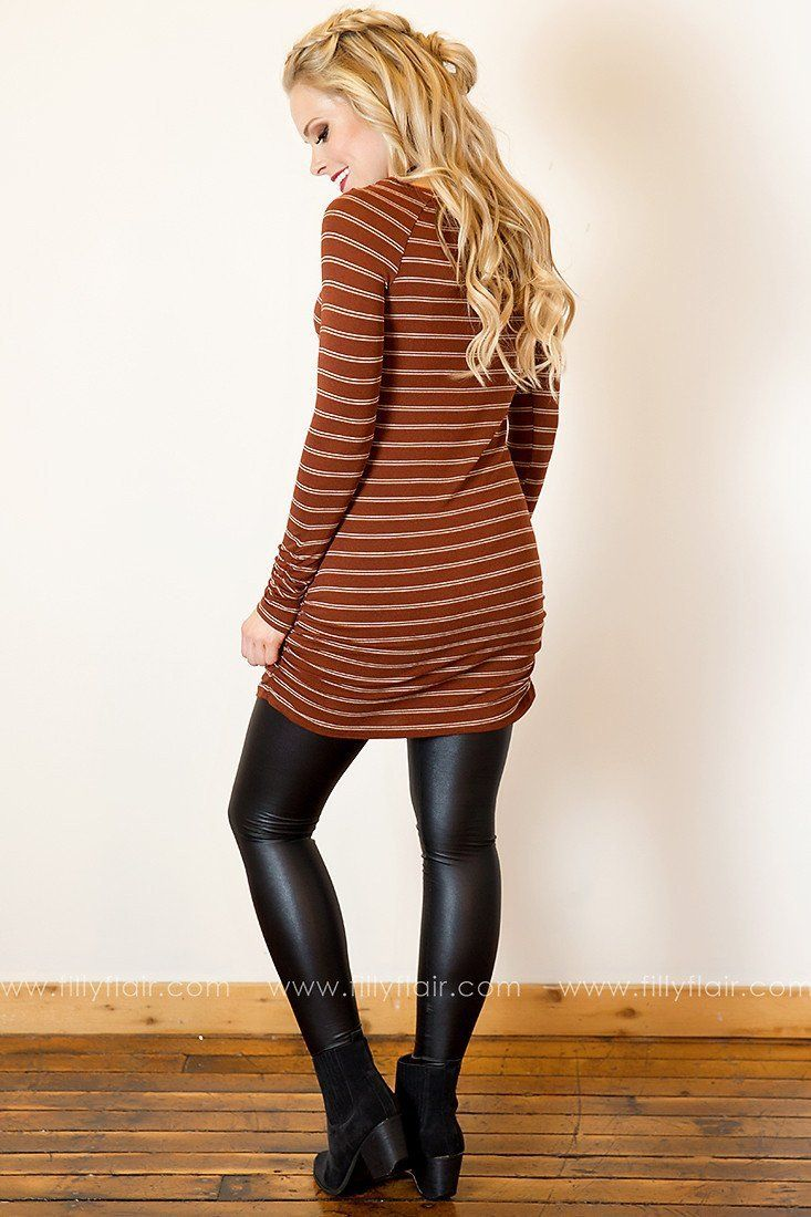 What a Cinch Tunic in Brown and White