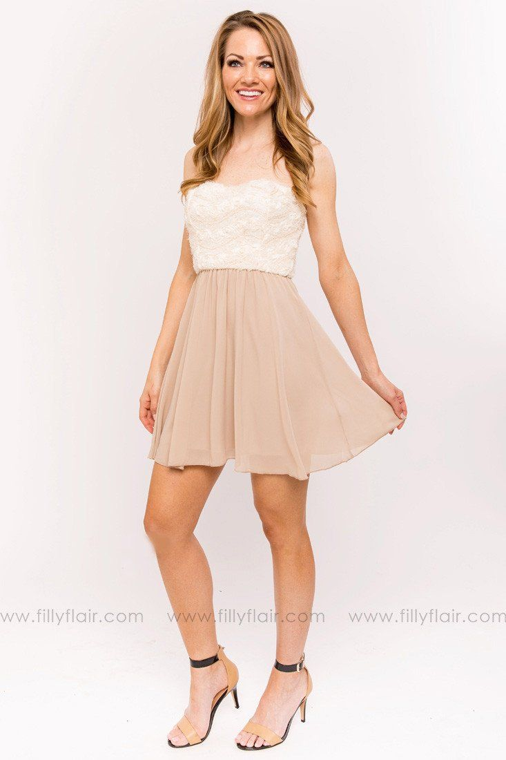 Natalie Bridesmaid Dress in Beige
