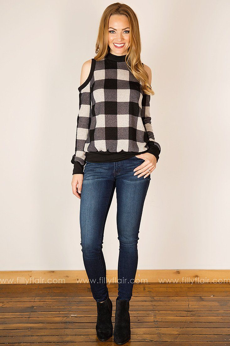 Polished Plaid Cold Shoulder Tunic in White