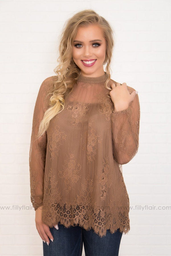 Victoria Lace Long Sleeve High Neck Top in Mocha
