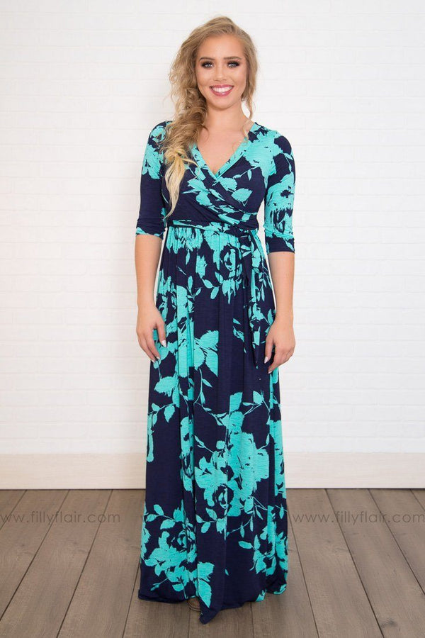 Sisters 3/4 Sleeve Wrap Maxi Dress in Navy Turquoise Floral