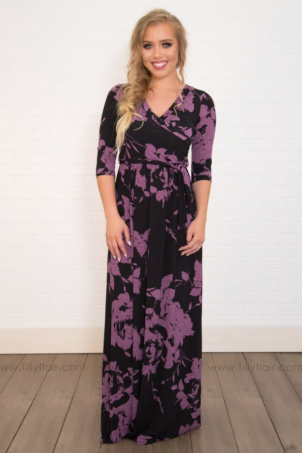 Sisters 3/4 Sleeve Wrap Maxi Dress in Black Purple Floral