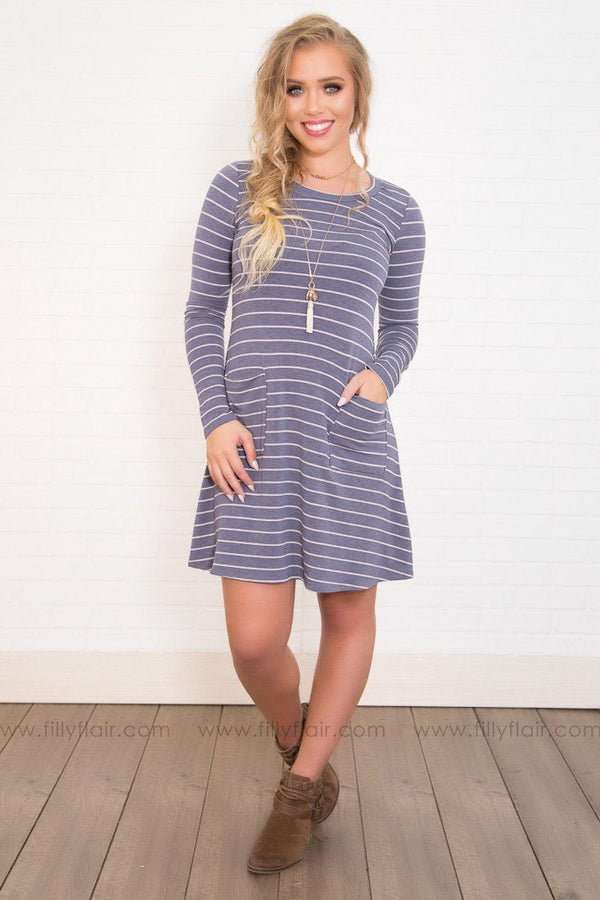 Pocket Fever Striped Mini Dress in Heather Grey