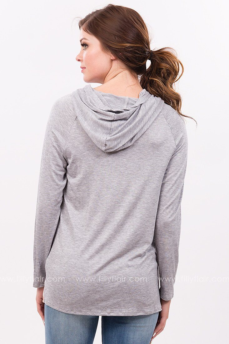 Floral Wish Hoodie in Grey
