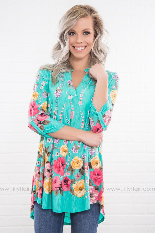What About Us Floral V Neck Top In Mint