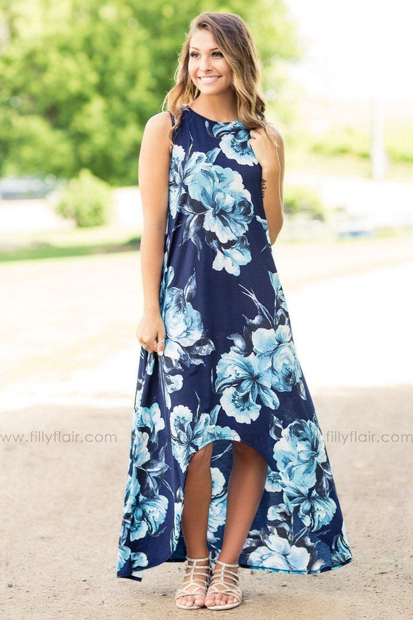On A Rainy Day Blue Big Flower Printed High Low Dress