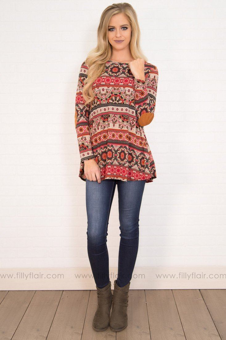 Some Kind of Way Printed Elbow Patch Tunic