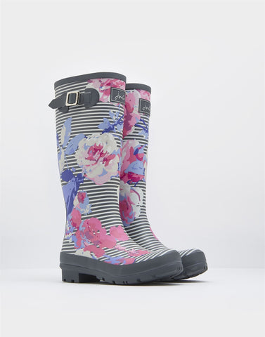 Joules Floral and striped print rain boots