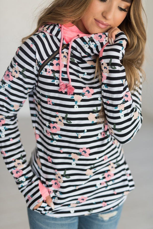 Spring Vacation Ampersand Avenue Double Hoodie In Striped Pink Floral