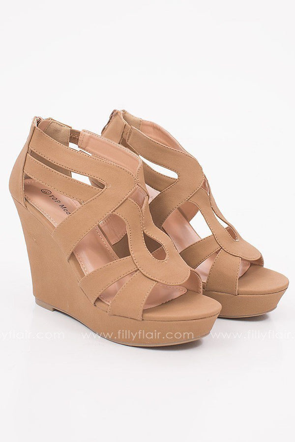Solstice Suede Wedge in Tan
