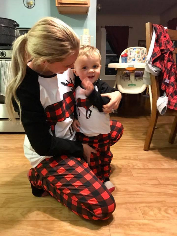 *Pre-Order* KIDS:  Red Black Plaid Reindeer Top and Pants Set Pajamas