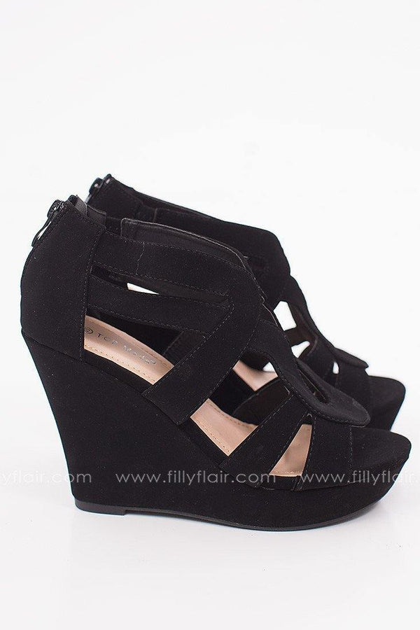 Solstice Suede Wedge in Black