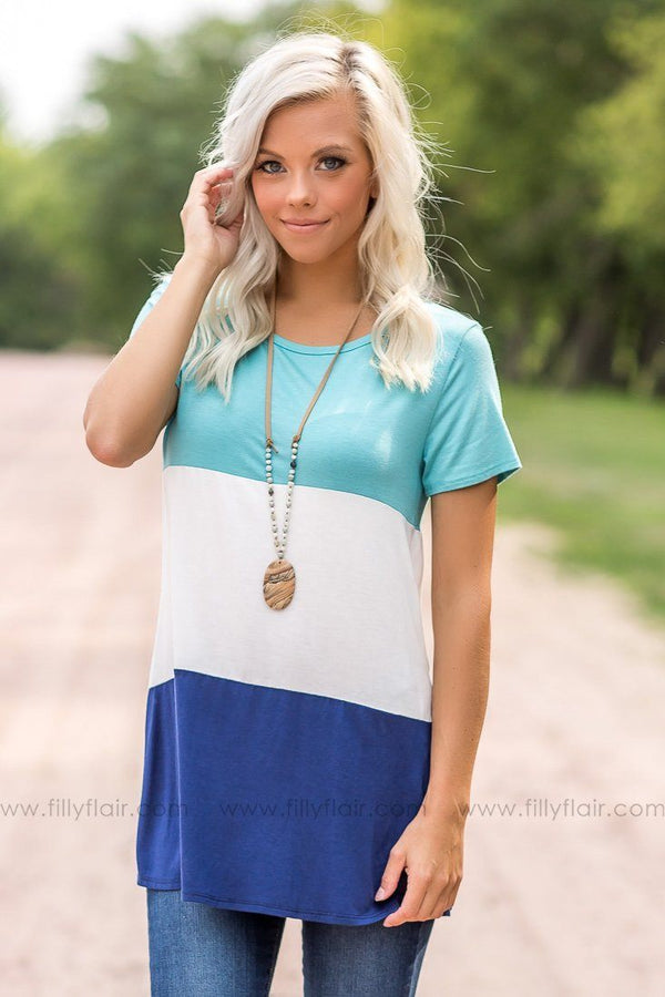 Sweet Dreams Blue Color Blocked Top
