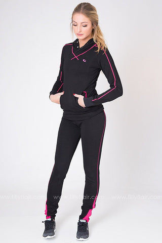 Fast Lane Leggings in Black and Pink
