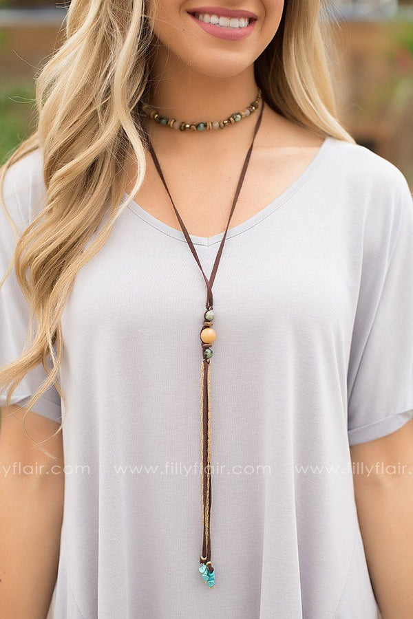 No Limits Lariat Necklace in Brown