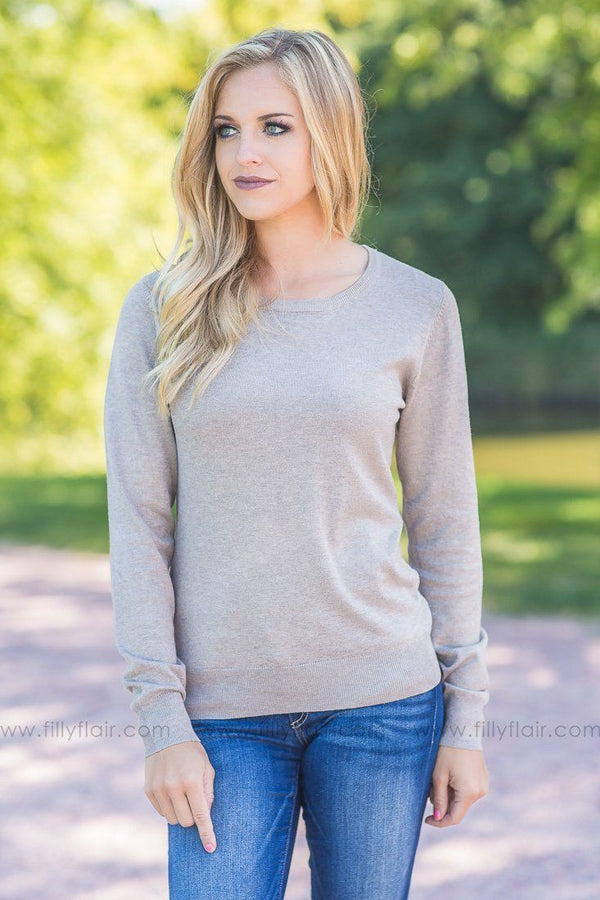 Lydia Oatmeal Solid Pull Over Sweater