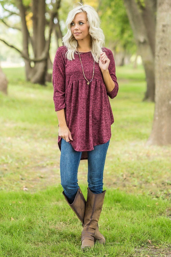 Pre-Order Burgundy Long Sleeve Baby Doll Tunic