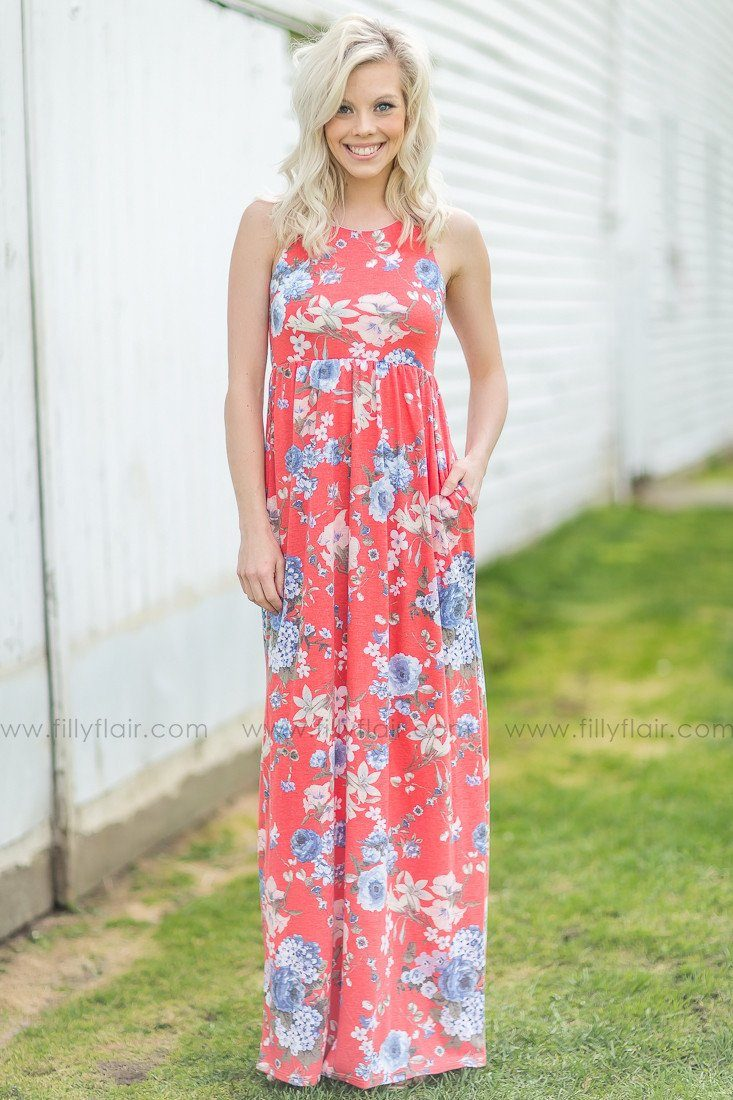 Picking Wild Flowers Floral Maxi Dress in Coral