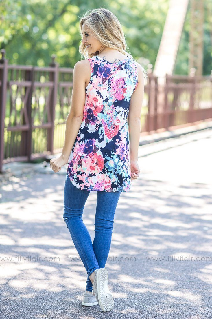 Bright Lights White Neon Floral Back Tank Top