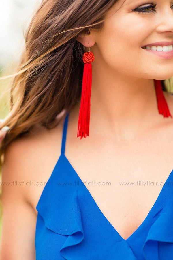 Tassel Me Softly Red Earrings