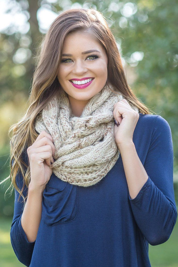 One Sweet Day Taupe Tan Two Toned Knitted Infinity Scarf